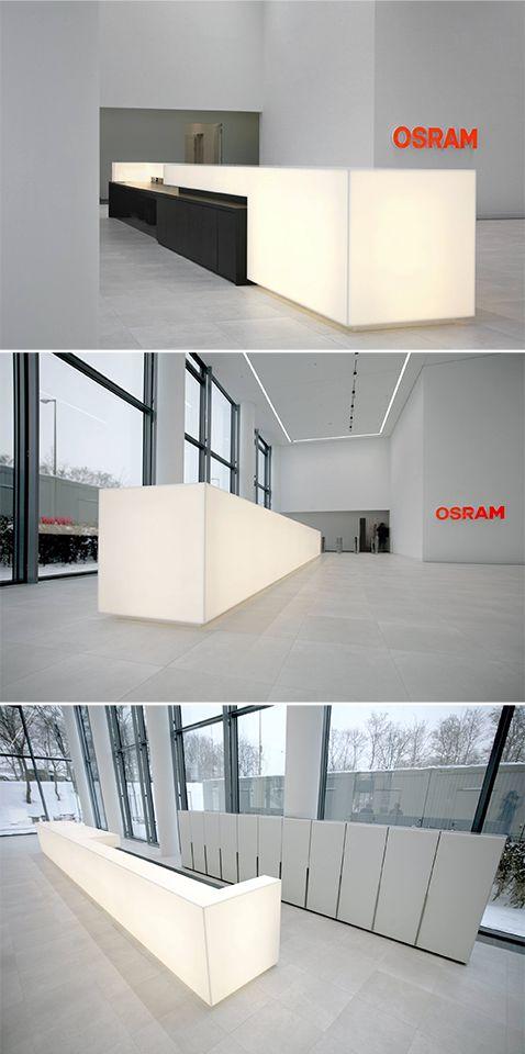 The translucent properties of HI-MACS® open up new possibilities for designers! Reception desk by Wolfgang Brune & Manufaktur Hommel.