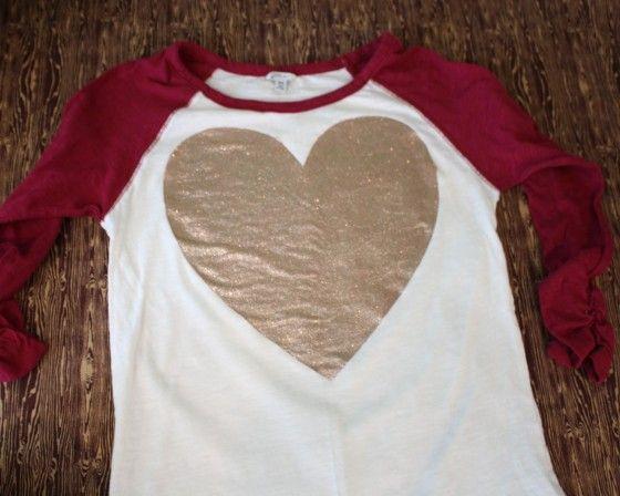 DIY TUTORIAL: glittered heart t-shirt. Using Freezer paper and Martha Stewart Glitter Fabric Paint