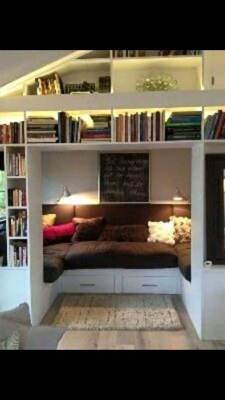 A Cozy Book Nook Great Idea For Small Room Or Unused Space In The House You Could Even Sleep People It If Its Comfy Enough