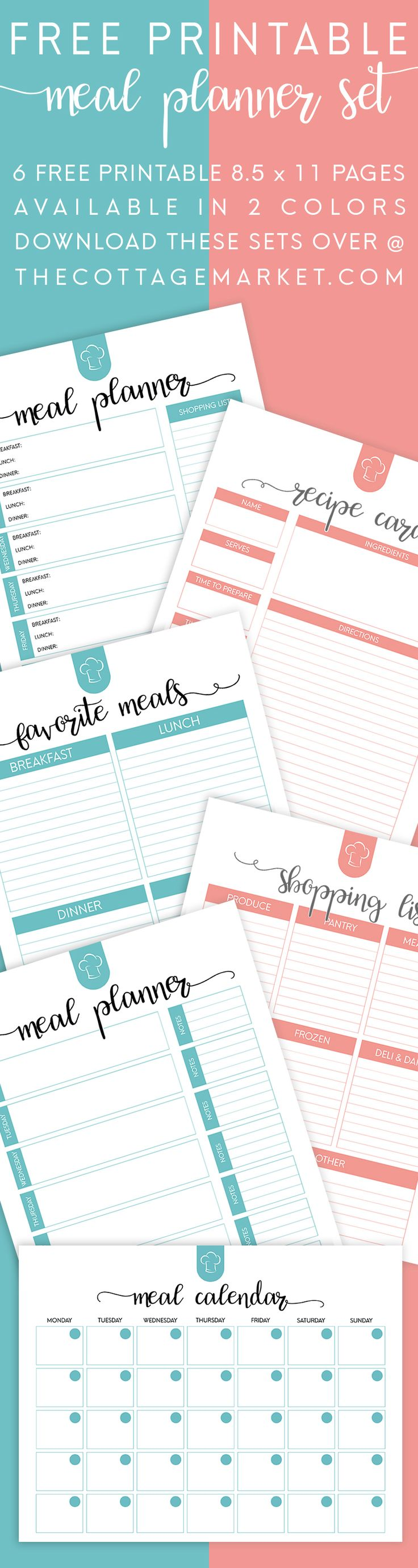 FREE Printable Meal Planner Set! 6 Free Printables Available in 2 Colors...Get those Meal Plans Organized for the New Year! Everything you need is right here and it's FREE!
