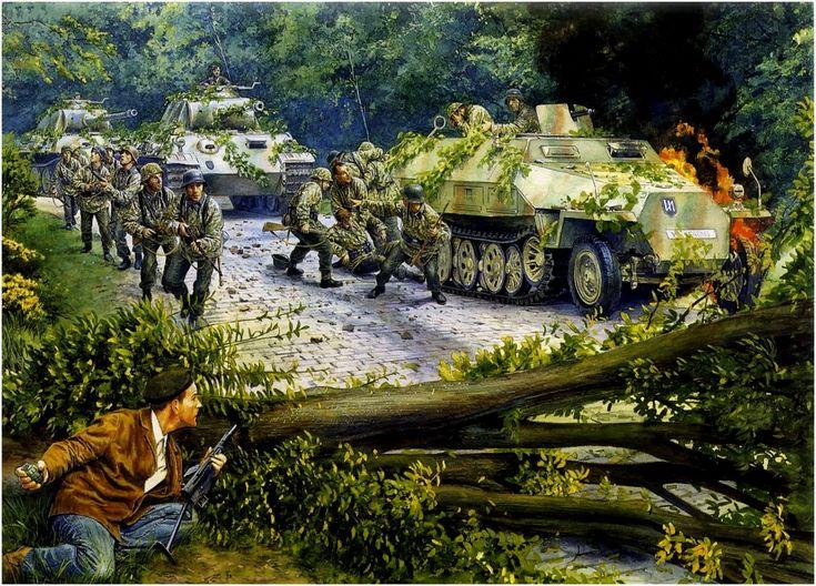 """Plan """"Tortue"""" (Plan de Acción de la tortuga). Francia, junio 1944. Steve Noon Columna de la 2ª División Waffen SS Das Reich caen en una emboscada de la Resistencia Francesa. La red del Plan de Acción de la tortuga, fue la red de la resistencia francesa creada en septiembre de 1943, para apoyar a los aliados durante los desembarcos de Normandía. Más en www.elgrancapitan.org/foro/"""