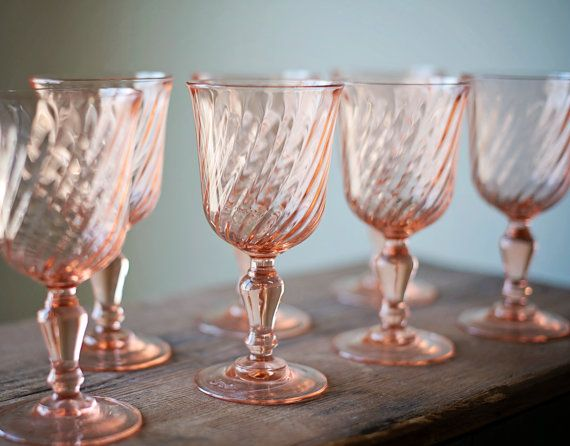 vintage pink glass wine goblets by arcoroc france set of 3