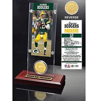 NFL® Green Bay Packers Aaron Rodgers Ticket & Bronze Coin Desktop Acrylic