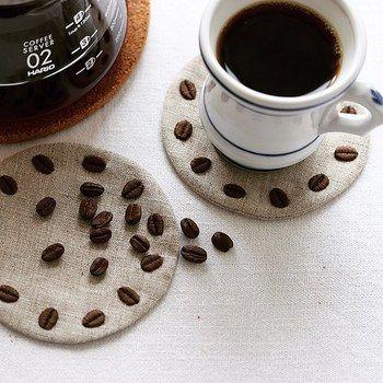 どれが刺繍でどれが豆?コーヒータイムがいつもよりもっと楽しくなりそう♪