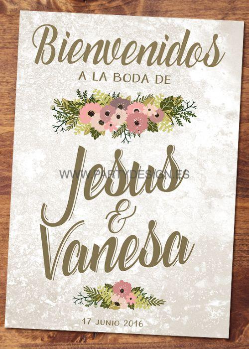 cartel bienvenida boda marmol party design