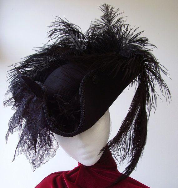 Lady Neeme Black Steampunk Gothic Cockade tricorn hat