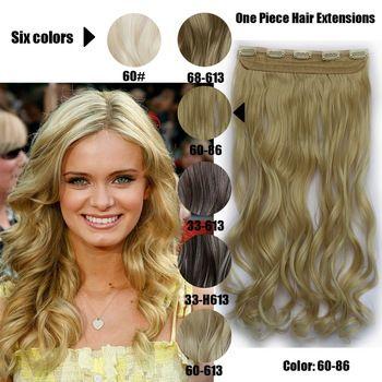 61 Centímetros 120 Gramas 1 peça Mega Hair Tic Tac Cabelo Sintético Ondulado Mechados Loiros/Mechados Castanhos //Price: $68.00 & FREE Shipping