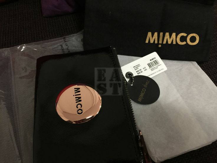 Authentic BNWT MIMCO SMALL MIM POUCH BLACK ROSE GOLD WALLET PATENT LEATHER 69.95