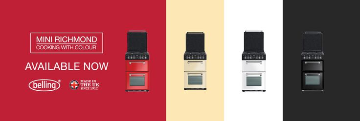 Mini Richmond freestanding cooker, available in 4 colours - fiery red, classic cream, perfect white and elegant black.