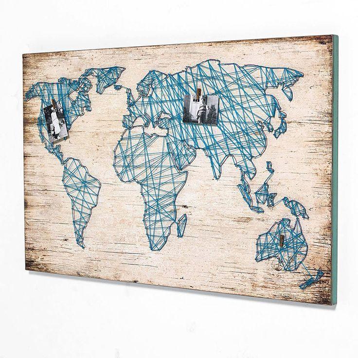 Bild Travel, mit Weltkarte aus Bindfaden, MDF Jetzt bestellen unter: https://moebel.ladendirekt.de/dekoration/wandtattoos/wanddekoration/?uid=06e630ca-3dae-5352-86ff-cf45b852dfa6&utm_source=pinterest&utm_medium=pin&utm_campaign=boards #tattoos #bilder #dekoration