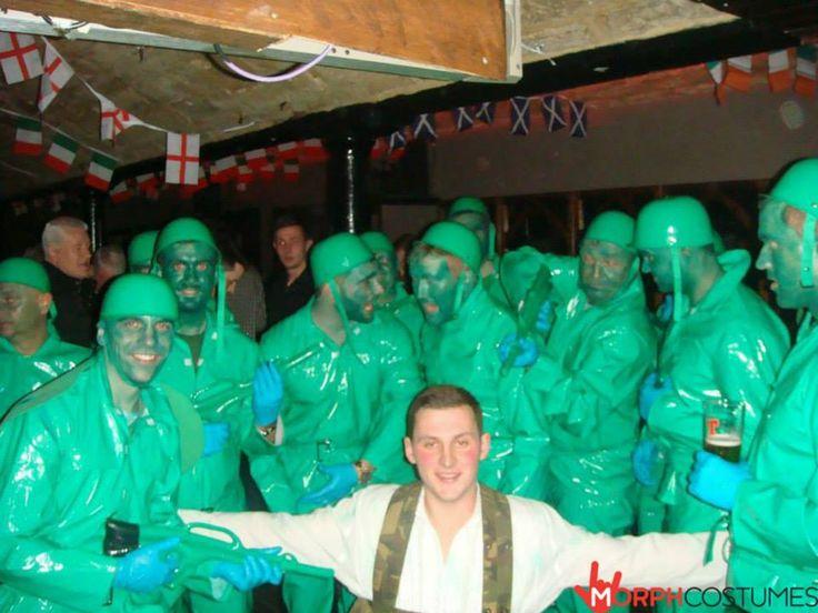 Karnevalkostumen: Schickes grünes Spielzeugsoldaten Kostüm für Erwachsene.