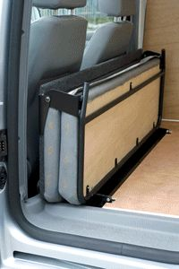 Picture of a Deluxe Folding Rear Passenger Van Seat for the VW Caddy Van - shown in the folded up position