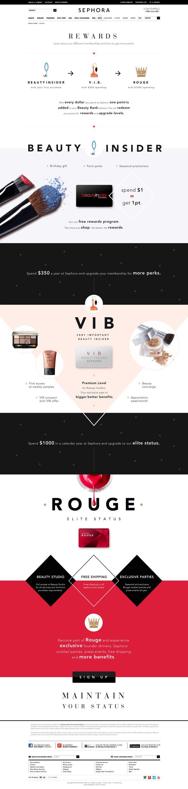 Sephora Rewards page