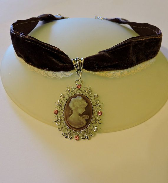 Gargantilla elegante camafeo, Gargantilla victoriana, Joyería victoriana, Collar de boda victoriano, Gargantilla lolita clásica terciopelo