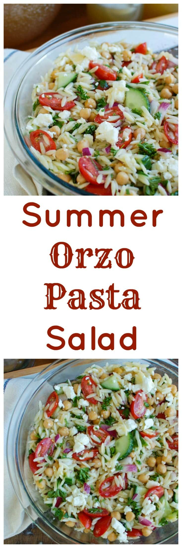 Summer Orzo Pasta Salad is a healthy pasta salad packed with lots of vegetables, chickpeas and feta cheese topped with a light red wine vinaigrette.