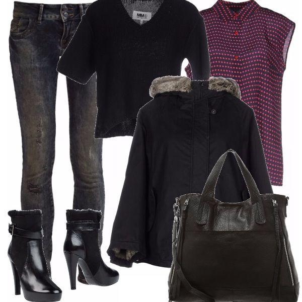 Amiamo questo jeans skinny - dirty rebel wash, effetto usato e logoro. Lo abbineremmo allo stivaletto super stiloso alla camicetta di raso ed al maglioncino nero corto. La mantella è calda e avvolgente. La borsa nera ampia