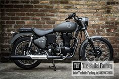 Royal Enfield customised with matte grey paint and seats, by The Bullet Factory