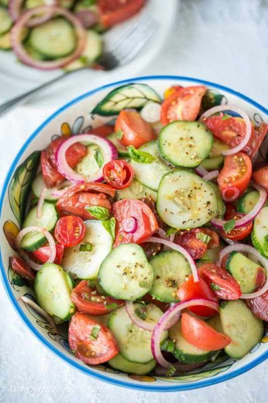 Heirloom Tomato Salad with cucumbers, fresh herbs & onion (garden-to-table)