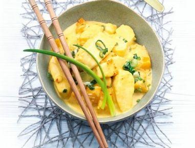 Pfirsich-Fisch-Curry aus dem Dampfgarer - Rezept