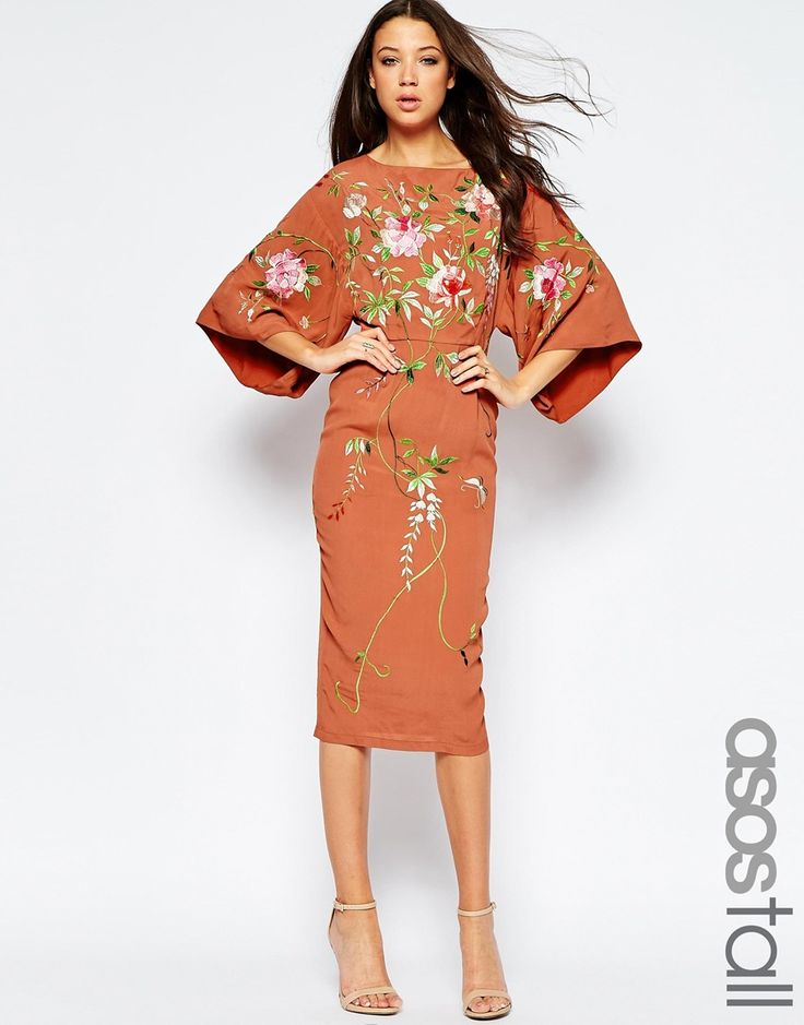 Image 1 of ASOS TALL Kimono Midi Dress With Embroidery