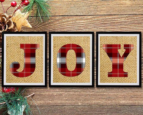 Printable Holiday Decor JOY 3 Files Christmas Printable #holidaydecor #christmasdecor #printablewallart #printablechristmasdecor #printableholidaydecor #JOY #redblackplaidletters