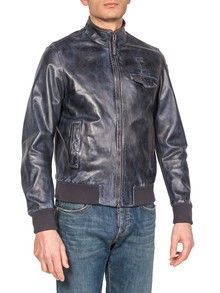 BOMBER JACKET IN USED EFFECT WASHED LEATHER, FEATURING MULTIPLE POCKETS AND BLAUER LOGO LOOP, TWO-WAY ZIPPED FASTENING
