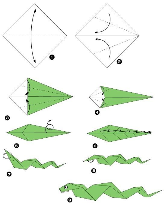 Serpent origami pinterest snakes origami and google - Origami chat facile ...