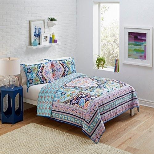 Blue Pink Bohemian Floral Pattern Comforter Full Queen Set Elegant Abstract Palette Colors Artistic StripeInspired Design Borders Bedding Eclectic Designer Cotton