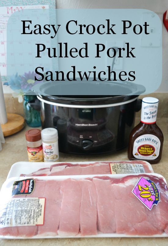 Easy Crock Pot Pulled Pork Sandwiches: Combine 1 bottle Sweet Baby Ray's BBQ sauce, 1 t dry mustard, 1 t garlic powder, 3/4 c brown sugar. Pour over 4 lbs boneless pork riblets (or use chicken for BBQ chicken) and stir to coat. Cook on high for 4 hours, skim fat off top and shred pork with 2 forks.