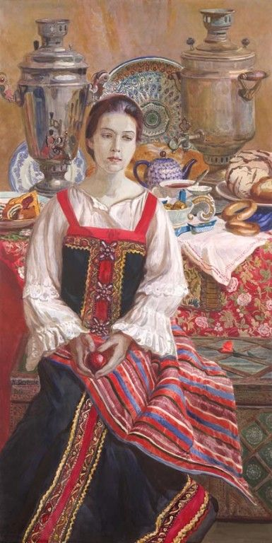 Russian costume in painting. Natalia V. Besednova. A Scarlet Flower. 2009.