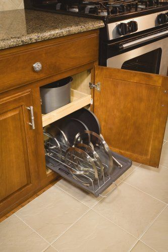 NEW Vertical Slide-Out Lid and Pan Organizer Kitchen Cookware Lid Pot Storage in Racks & Holders   eBay