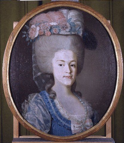 Margareta Sofia Gylling, (1765-1836), 1784, by Nis Schillmark. Suomen kansallismuseo, H58057:2. (Naisen rintakuva, oikealle kääntynyt. Ruskeat silmät, harmaaksi puuteroidut korkeaksi kampaukseksi asetellut hiukset, niskassa kiharat. Kampauksen päällä kukista sekä vaaleanpunaisista ja valkoisista strutsinsulista tehty koriste, josta roikkuu niskaan ohut harso. Sininen avokaulainen puku jonka pääntietä reunustaa sini-valkoinen röyhelö ja valkoinen pitsi. Miehustassa vaaleanpuna-valkoinen…