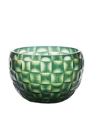 60% OFF Dynasty Gallery Hand-Faceted Mouthblown Glass Bowl (Green)