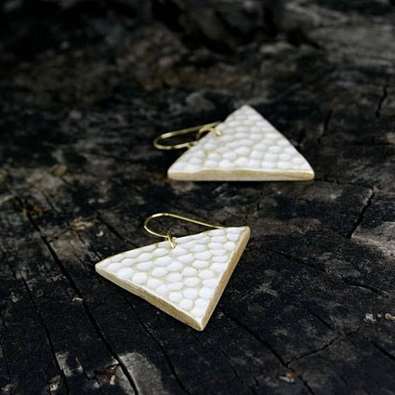 Hey, I found this really awesome Etsy listing at https://www.etsy.com/listing/575459394/ceramic-earrings-gold-whitetriangle