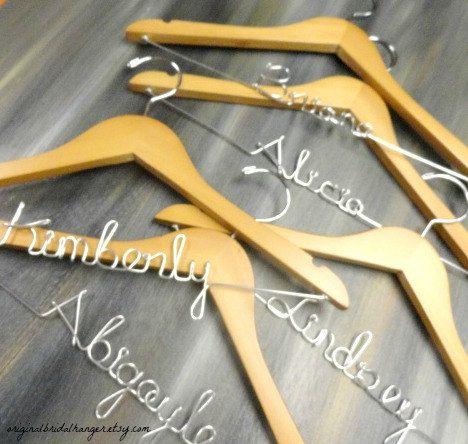 Bridal Party Hangers Bride Wire Hangers by OriginalBridalHanger, #WeddingDressHangers #BridalPartyHangers #Setof5Hangers, $80