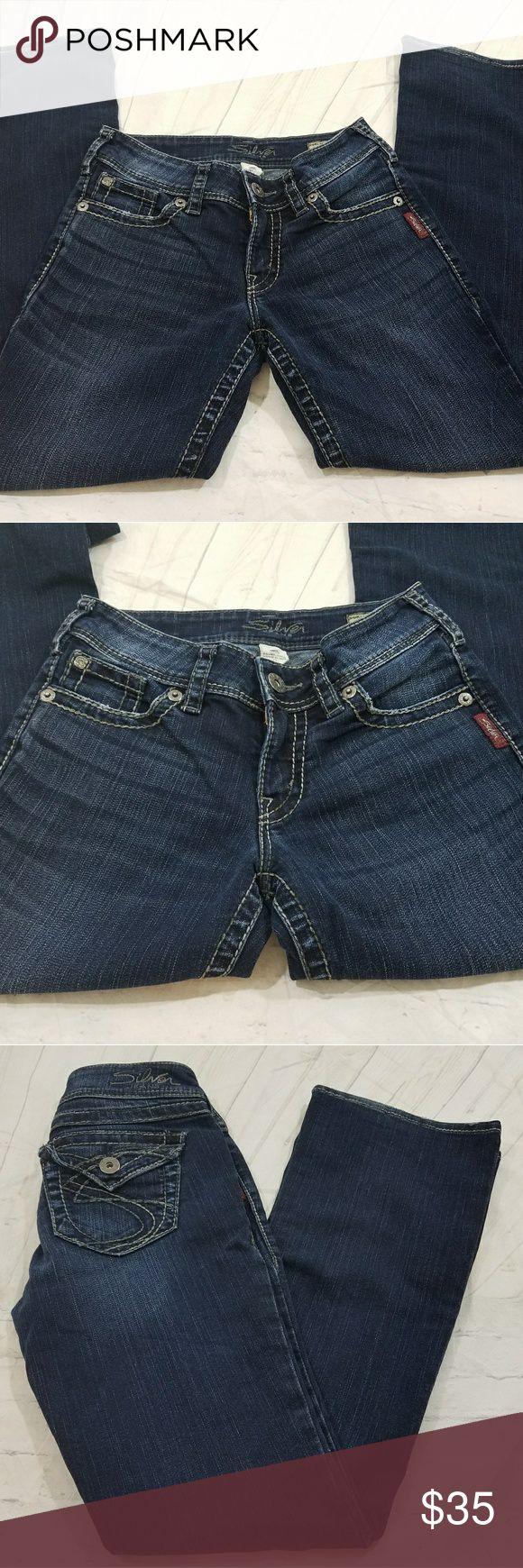 Silver Jeans Co. Women's W25/L30 Suki Surplus Dark Silver Jeans Co. Women's W25/L30 Suki Surplus Dark Wash Jeans  Waist across 12 Rise 8 Inseam 30 Silver Jeans Jeans Boot Cut