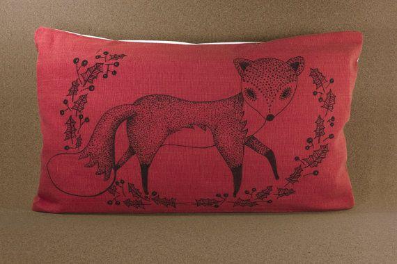 19 by 11 Hand-drawn illustration on pillow Follofox by detcraft