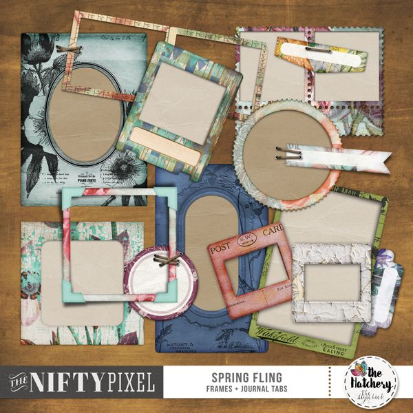 SPRING FLING | Frames & Journal Tabs This mixed bag of nifty frames, tabs and staples will have you framing and labeling all your precious photos in an instant. Selection any one of the vintage, shabby chic style frames to really showcase those special moments captured on camera.  DOWNLOAD INCLUDES:  10X Frames 4X Staples 4X Journal Tabs