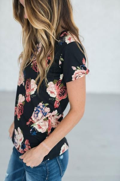 Madelyn Floral Tee - Black Cute dress at mindy Mae.com too