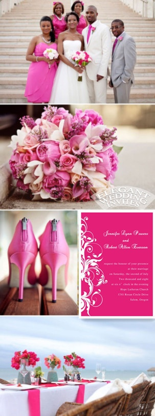 Get the hot pink wedding invitations at: http://www.elegantweddinginvites.com/product/elegant-pink-damask-wedding-invitations-ewi010/
