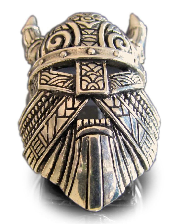 THOR VIKING RING with Mask Horns & Warhammer in Bronze