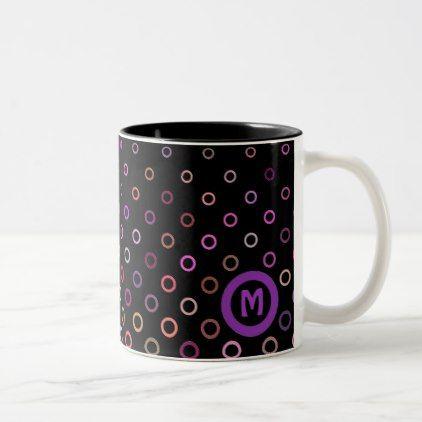 #Monogram Trendy Colorful Circles on Black Two-Tone Coffee Mug - #drinkware #cool #special