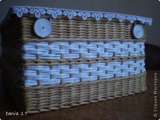 Поделка изделие Декупаж Плетение плетёнки и не только  Коробки Салфетки Трубочки бумажные фото 3