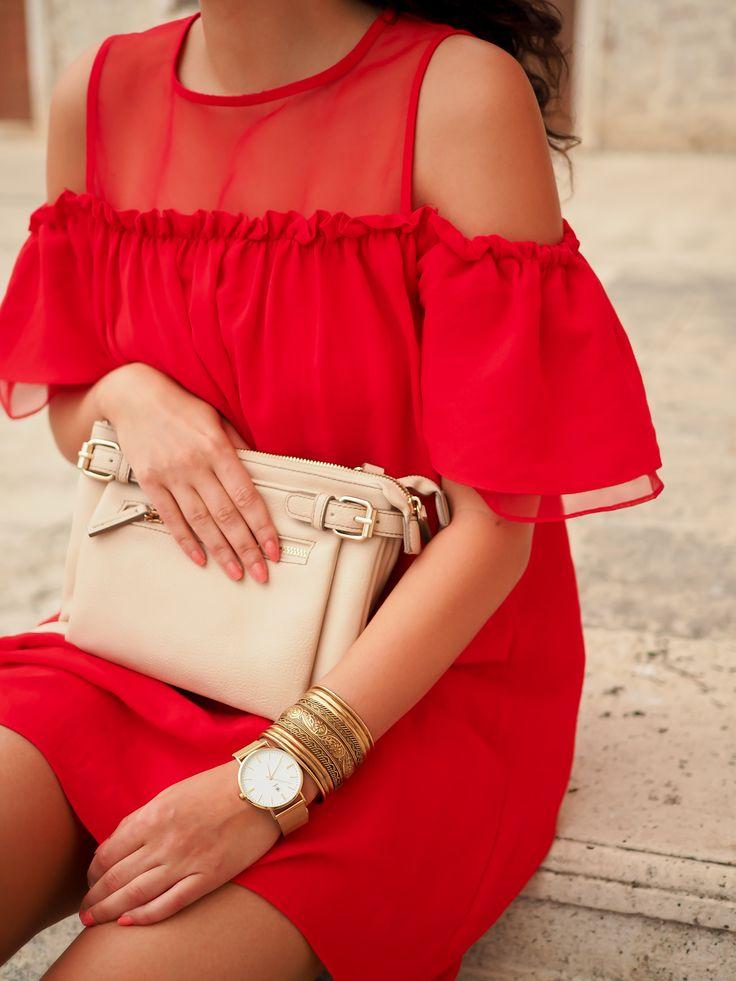 red offshoulder dress white sneakers adidas superstars nude bag oasis zalando…