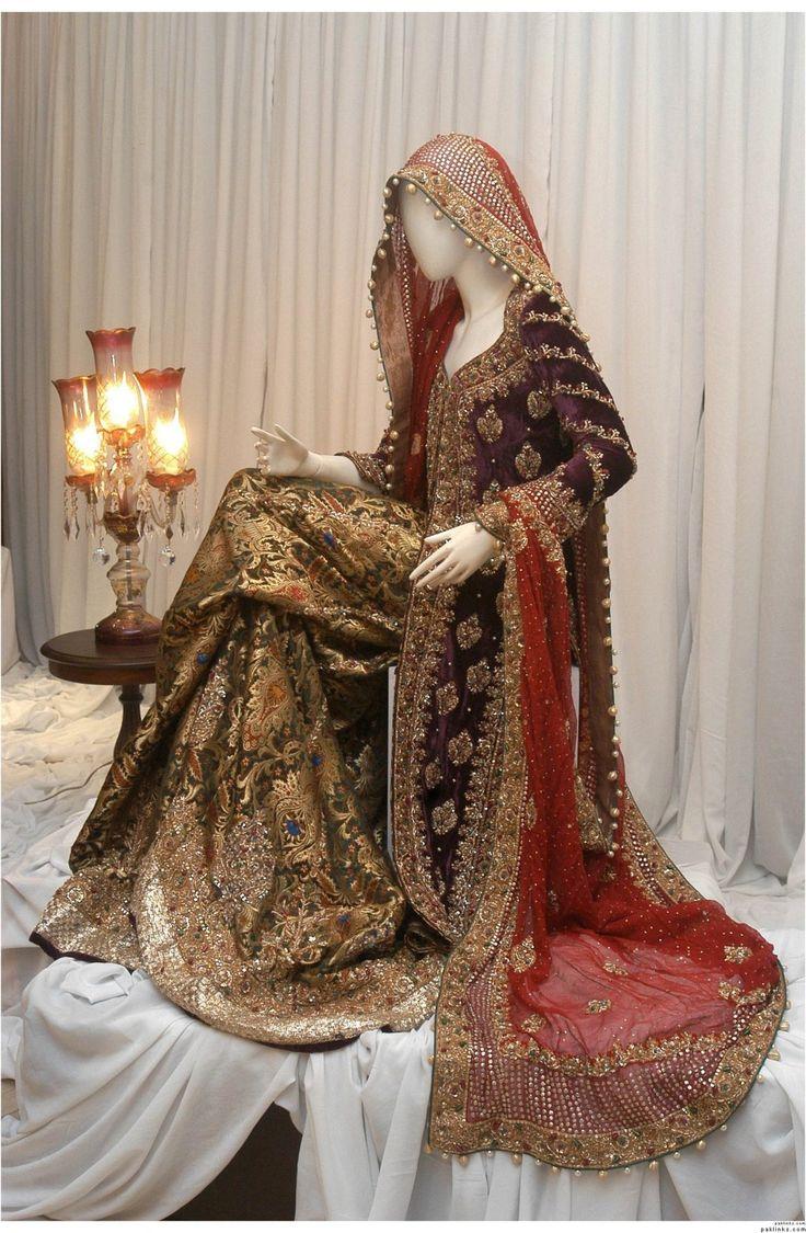 .gold, red and purple pakistani wedding dress
