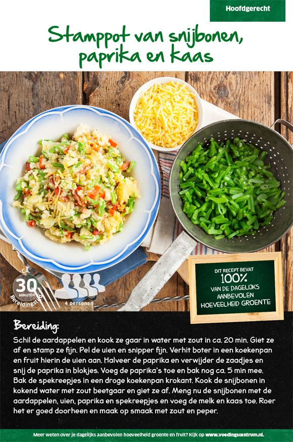 Recept voor stamppot van snijbonen, paprika en kaas #Lidl