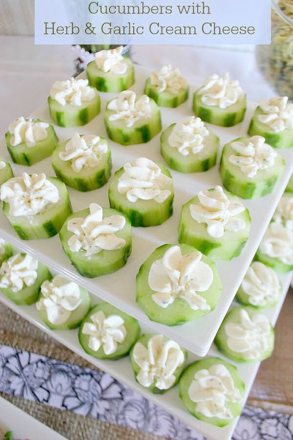 Cucumbers With Garlic Cream Cheese food recipe recipes party ideas party favors baby shower baby shower favors finger foods