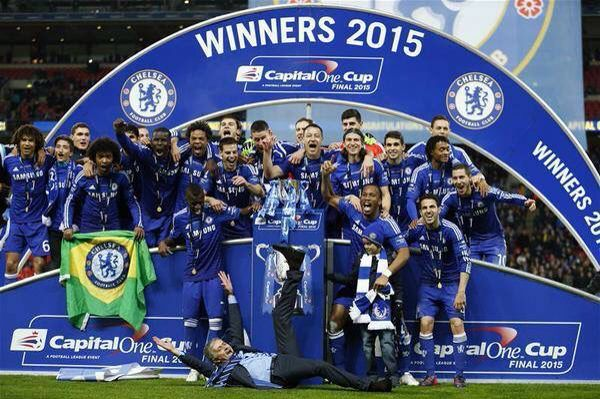 Celebrating Chelsea vs Spurs. Capital One Cup Final March 1 2015