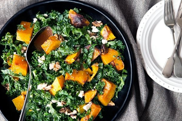 Maple roasted pumpkin with finely chopped kale, walnuts and feta...yum!