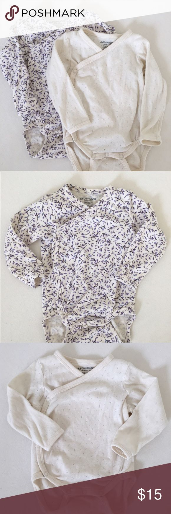 H&M | Bundle of organic long sleeve onesies Two long sleeve side snap onesies - purple floral and cream. Cream onesie is Pointelle, floral is solid cotton. H&M One Pieces Bodysuits
